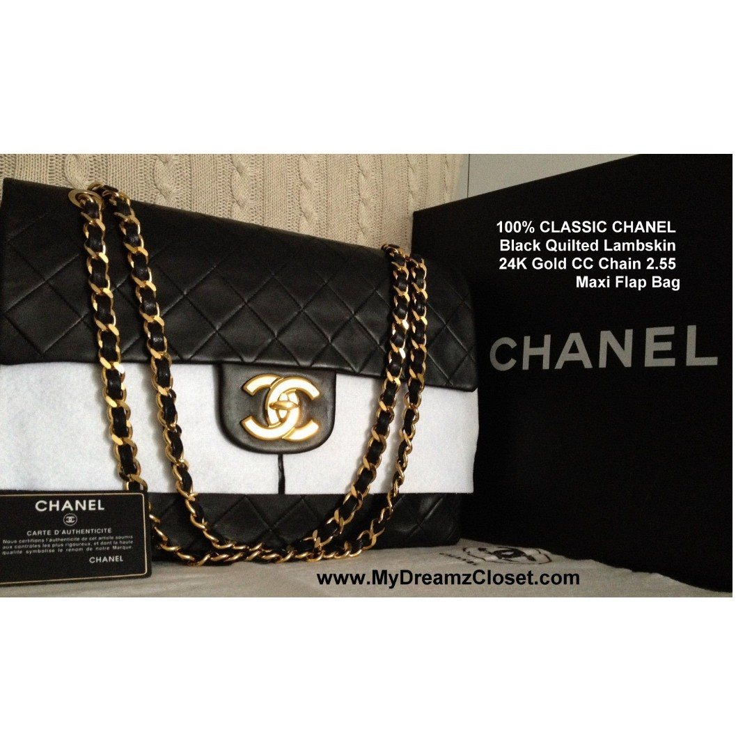 556a99bc1a06 FULL SET 100% CHANEL Black Quilted Lambskin 24k Gold Maxi 2.55 Flap ...