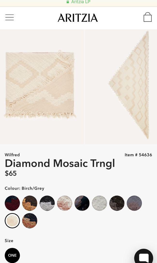 Aritzia diamond scarf BIRCH/GREY