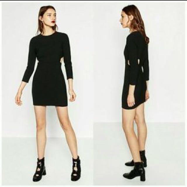 00e046eea8b9 BN Zara Black Cutout Waist Long Sleeve Dress, Women's Fashion ...
