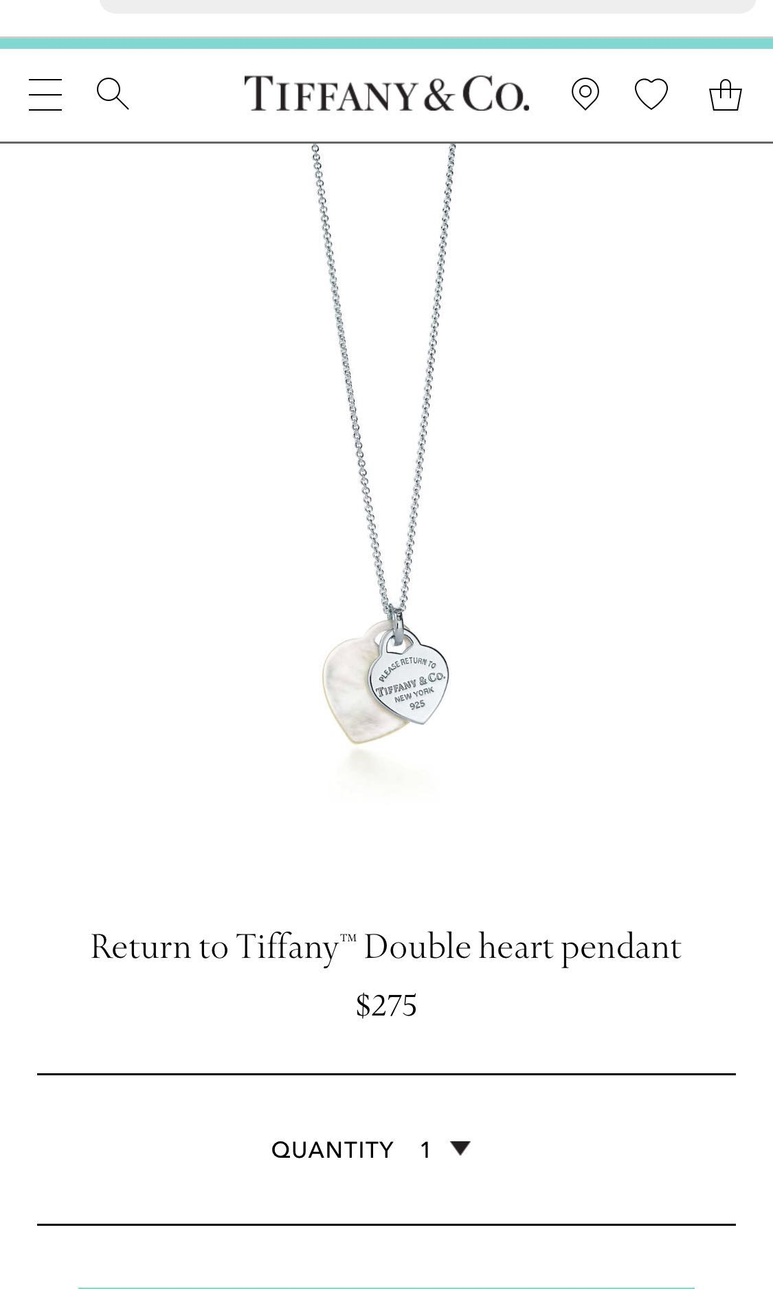 4e71d462a275 Brand new in box Tiffany double heart necklace mother of pearl ...