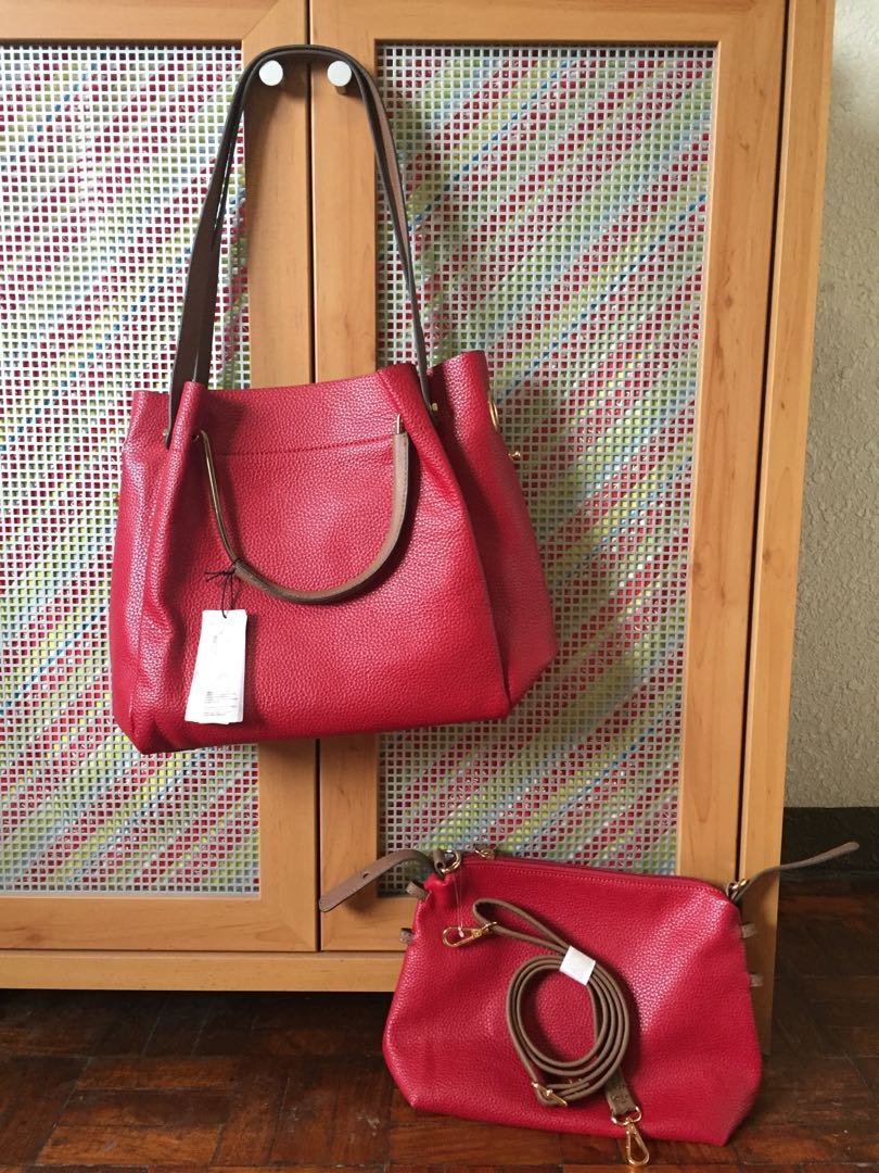 875f0e1dd0 Brand New! Parfois red brown gold leather stylish 3in1 bag with ...