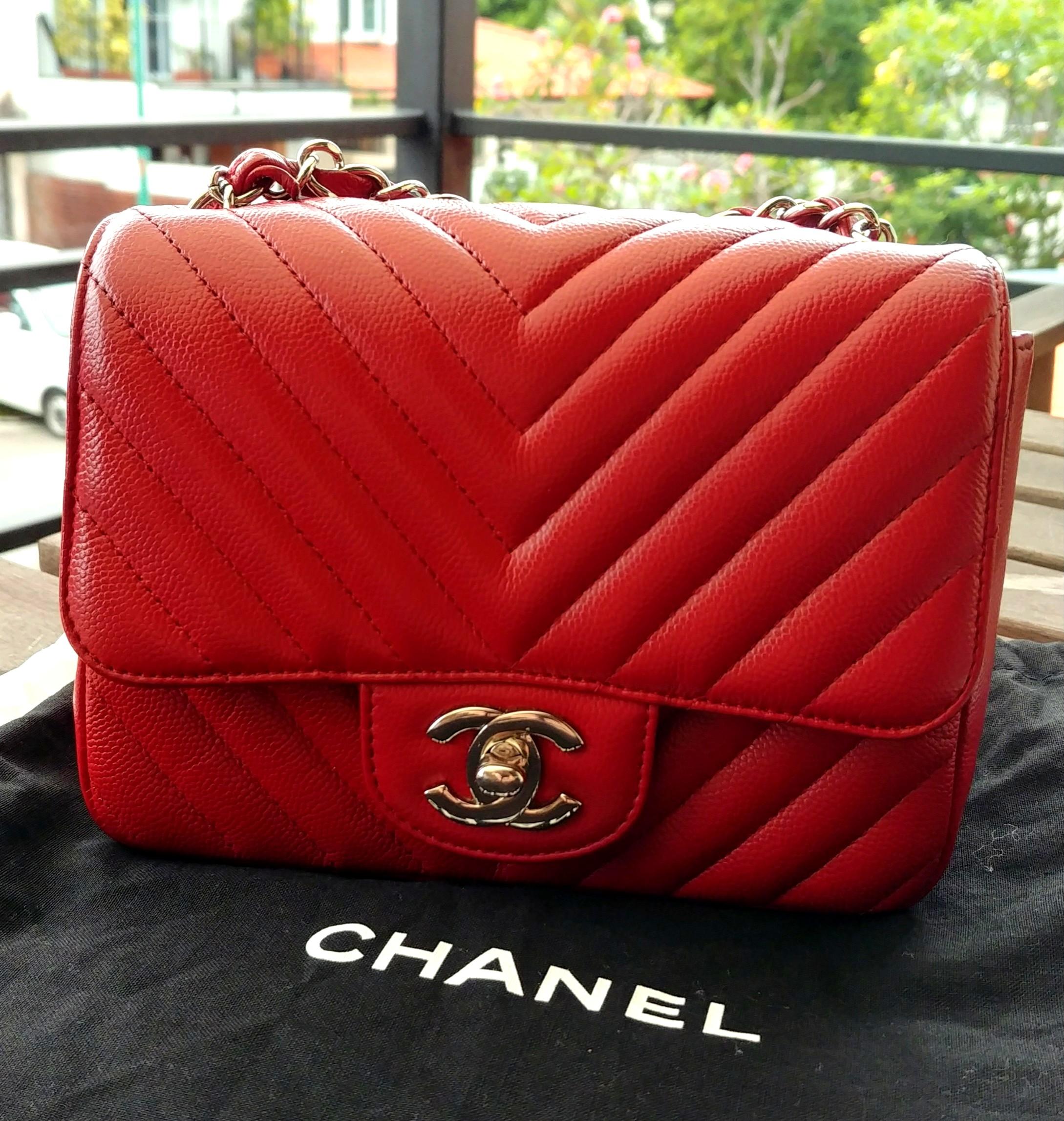 5bedb97ec50d Chanel Caviar Mini Flap Chevron Red, Women's Fashion, Bags & Wallets,  Handbags on Carousell