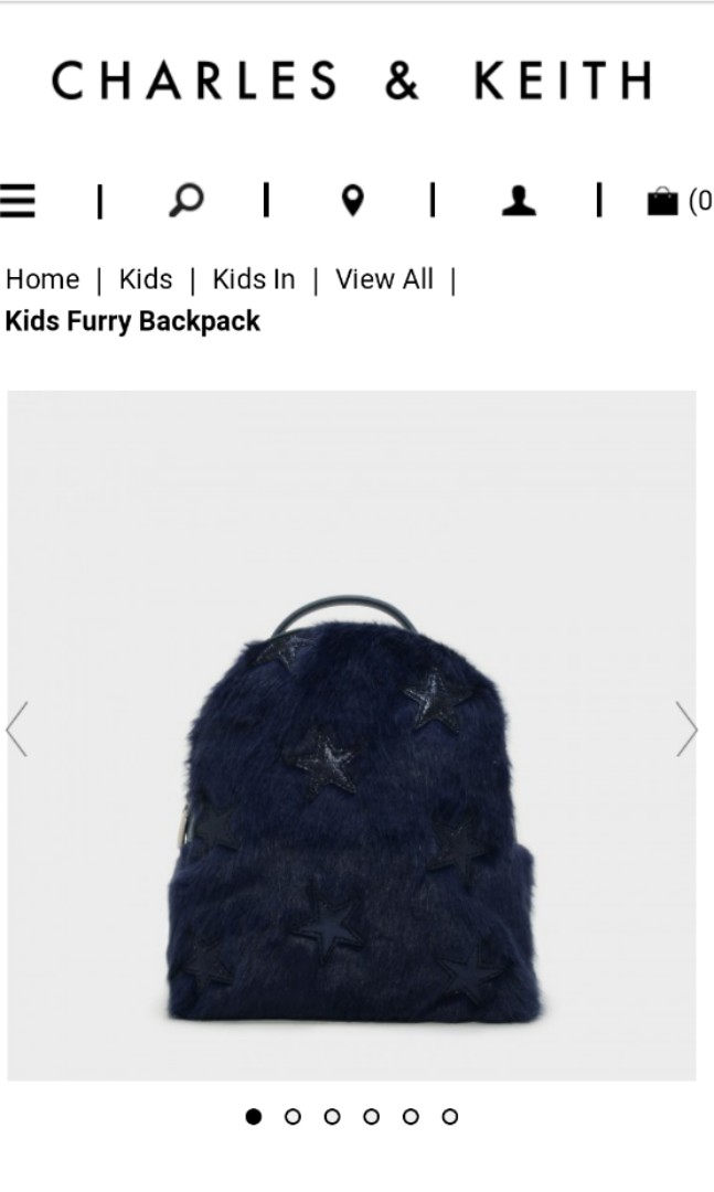 596f72f3e67 Charles and Keith Navy Furry Backpack