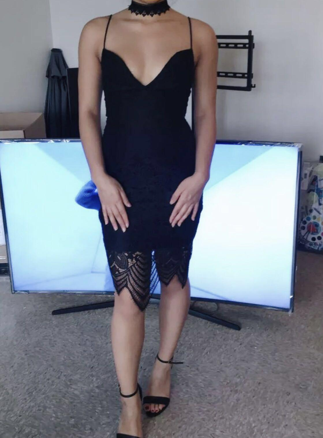 Ever New thin strapped, deep V neck, all lace dress