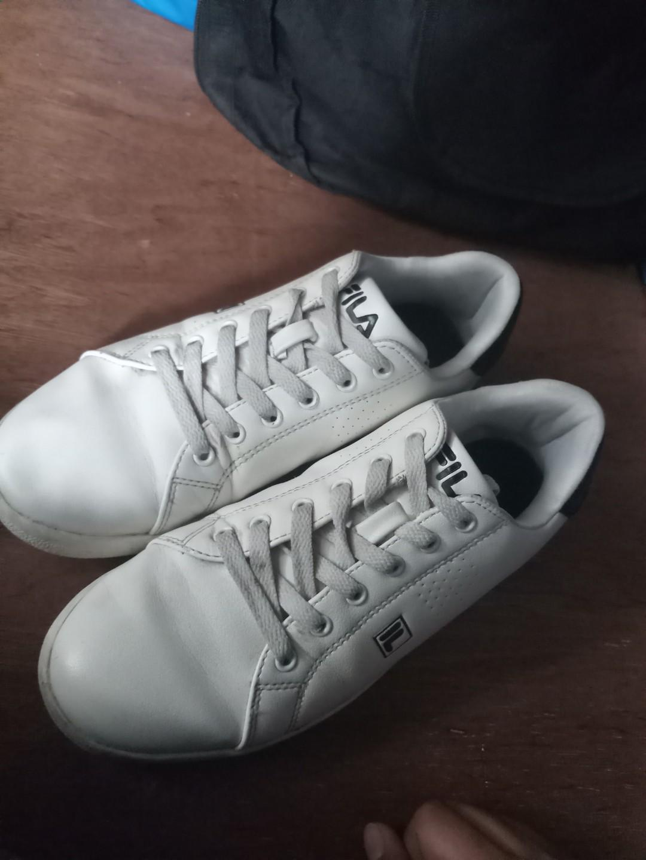 Fila White Leather Shoes, Men's Fashion