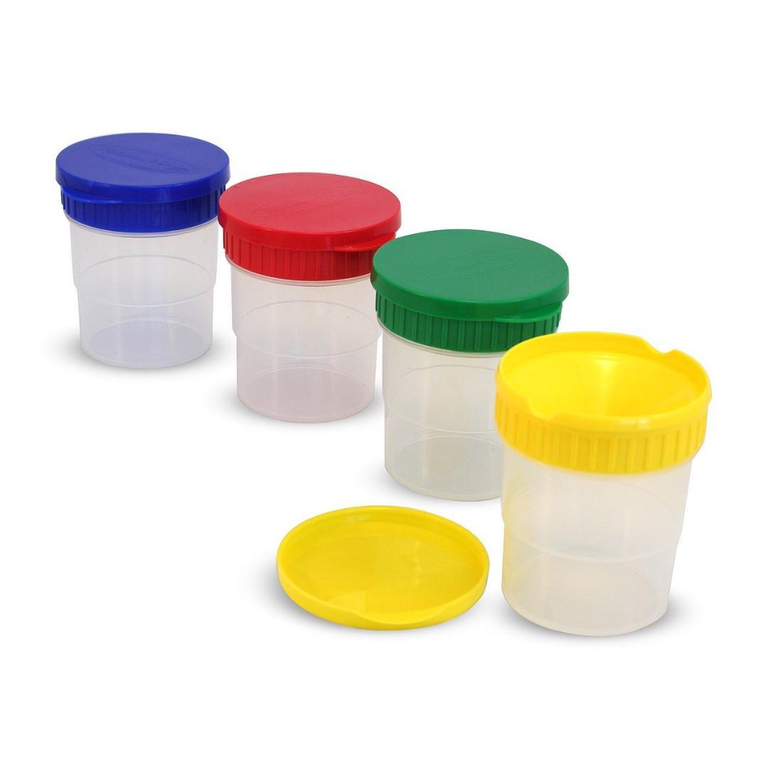 Mellisa & Doug Spill-Proof Paint Cups Dishwasher Safe Colorful Set 4