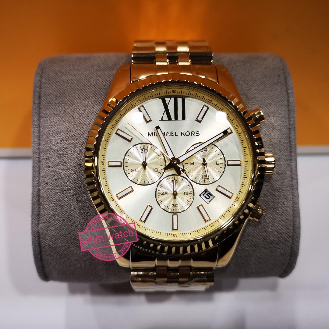 dee398855a0d MICHAEL KORS Lexington Chronograph Champagne Dial Men s Watch MK8281 ...