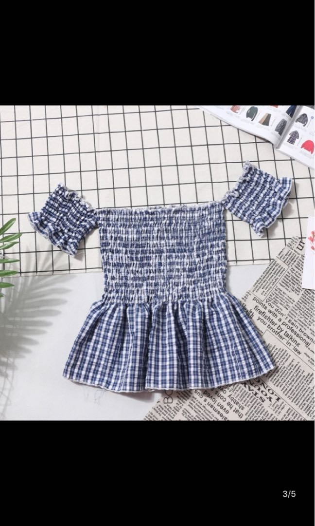 392a26b958 Off shoulder smocked tube babydoll top