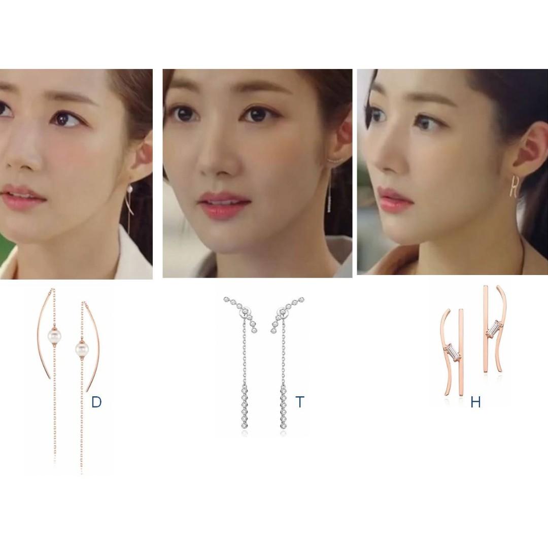 Po 925 Silver Park Min Young Inspired Earrings Women 39 S Fashion Jewellery Earrings On