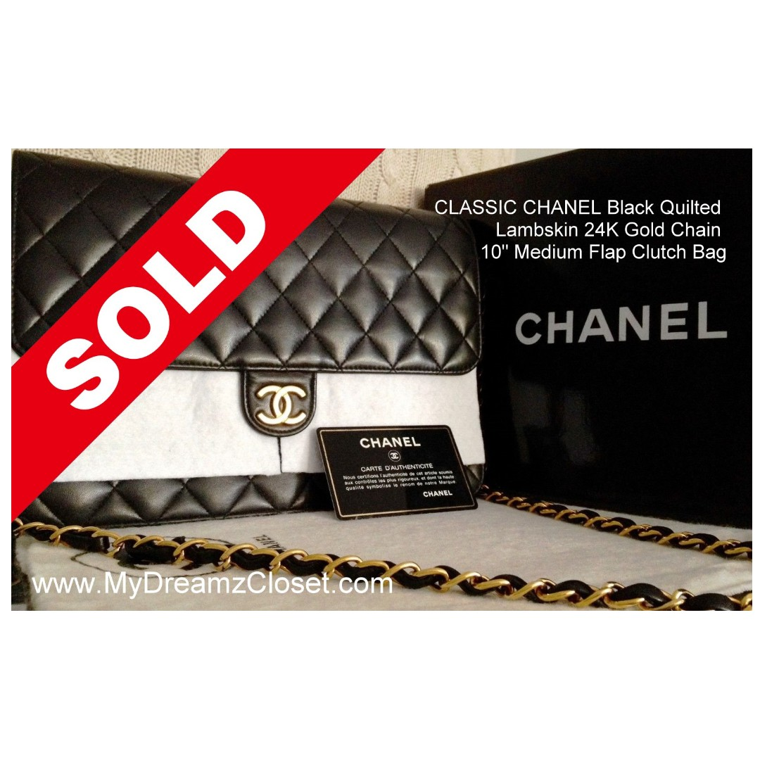 55ab5a179f2908 SOLD - FULL SET CLASSIC CHANEL Black Quilted Lambskin 24K Gold Chain ...