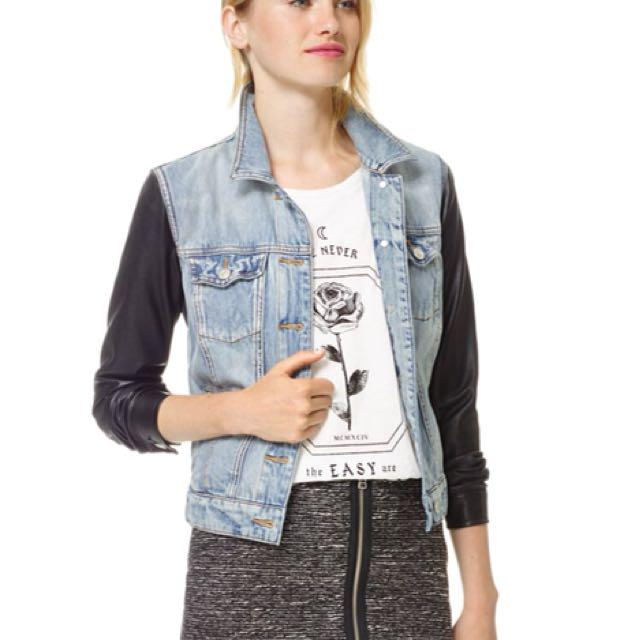 Talula Denim Jacket With Leather Sleeves