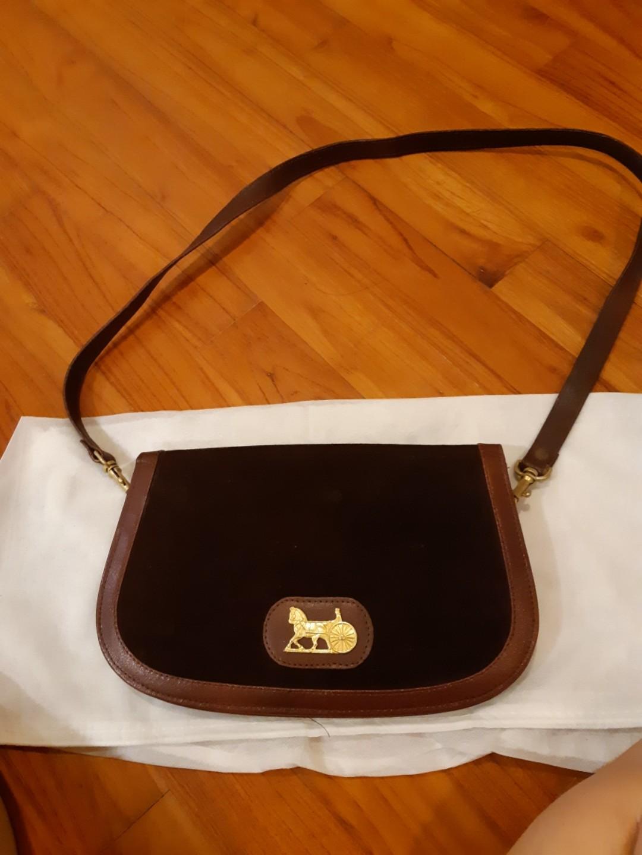 2f25894ac4 Rare Vintage Celine Horse Carriage logo Suede Leather Handbag ...