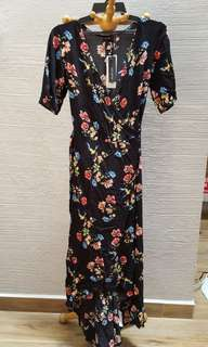 COTTON ON Floral Black Wrap Maxi Dress (Woven Lucy)
