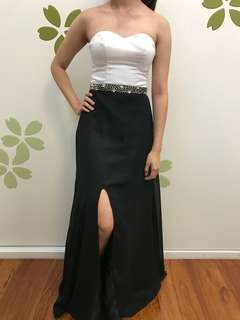 Black and white prom gown