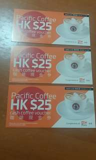 Pacific Coffee cash coupon三張