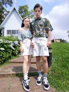 🚚 🌞全新現貨🌞情侶搭配、花花系列、襯衫、白褲、一字領
