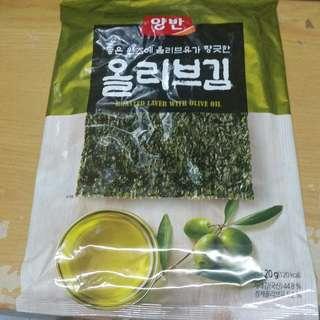 購自韓國 大包裝紫菜 一包5片入