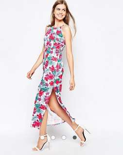ASOS Daisy Street Tropical Floral Halter Maxi Dress 📬 $18 mailed!