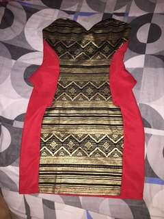 Red with Gold Print Dress