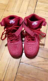 All red Nike air forces