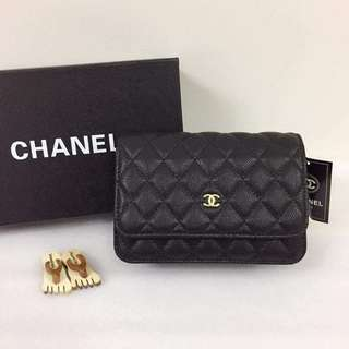 Chanel Wallet on Chain in Caviar