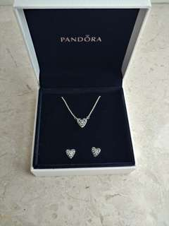 Pandora 頸鏈耳環套裝 Heart of Winter Jewelry Set