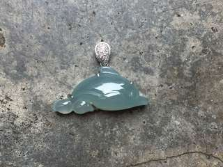 🚚 18K真鑽湖水綠海豚吊墜  25.8/13.9/8.4mm 含釦頭19.0mm