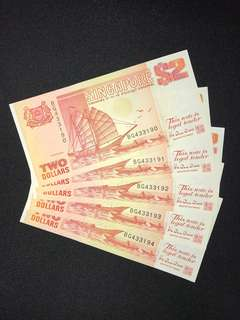 Singapore $2 orange ship series running 5 pieces Banknote