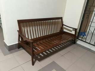 vintage mid century 3 seater teakwood sofa pak awang