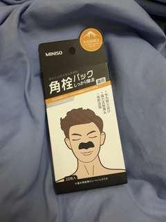 🚚 MINISO 名創優品 男士火山泥去黑頭鼻膜貼 一盒10入