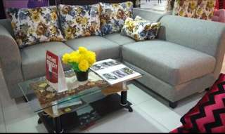 Kredit SOFA L PUTUS +MEJA KACA TANPA DP hanya di HOMECREDIT