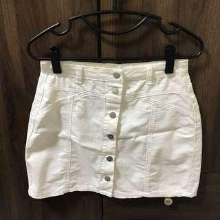 white denim skirt