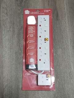 NTUC Homeproud 4-way Extension Socket and 3-way Adaptor