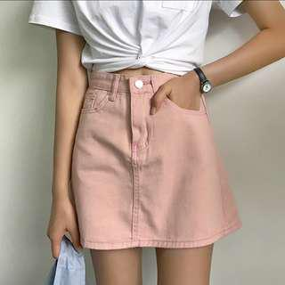 🚚 粉色牛仔A字裙