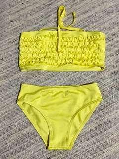 Yellow Bandeau swimwear