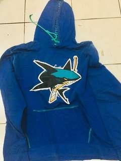 Hoodie blue jacket sharks NFL sz L