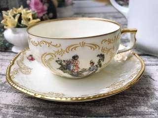 🚚 德國Rosenthal 聖蘇西宮廷古典浮雕海洛特華麗描金花茶杯組