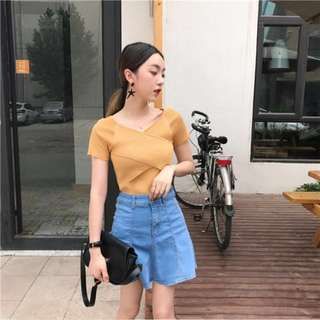 <INSTOCKS> Ribbed knit overlay top blouse