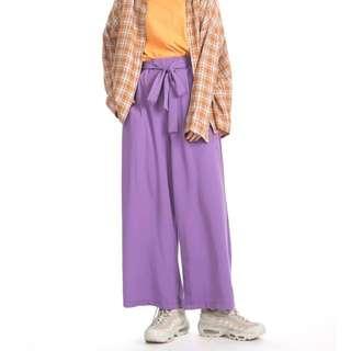 🚚 紫色鬆緊寬褲(附腰帶)