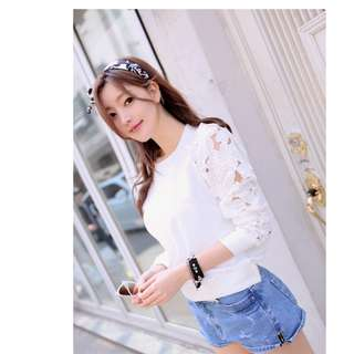 Autumn and winter women's explosions flowers lace hollow long sleeve sweater