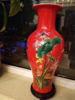 (景德鎮)14寸高 紅錦鯉魚尾花瓶