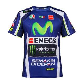 Motogp 46 Rossi  M1 racing T shirt short sleeve T-shirt sponsor movistar yamaha eneos semakin di depan VR46 VR agv wlf monster factory racing the doctor dainese Michelin