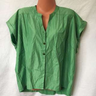 Large Plains and Prints Green Blouse