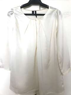 Mango Silk Blouse in Off white , Size Small