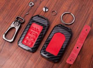 Carbon Fiber Leather Car Remote Key Fob Cover Case Holder Protect For HONDA CAR And TOYOTA CHR
