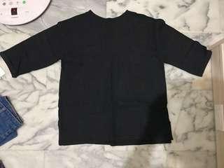 🚚 黑色七分袖上衣