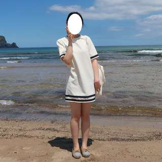 Cute white short sleeve dress one size made in Korea
