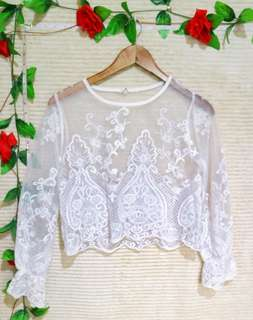 ⚡PRELOVED⚡ White Lace Crop Top