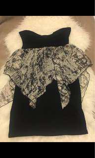 Black dress with print chiffon- Size M