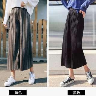 0616韓版絲絨面百褶高腰寬鬆九分闊腿褲